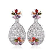fashion AAA zircon flower earrings colorful jewelry Korean earrings NHTM197151