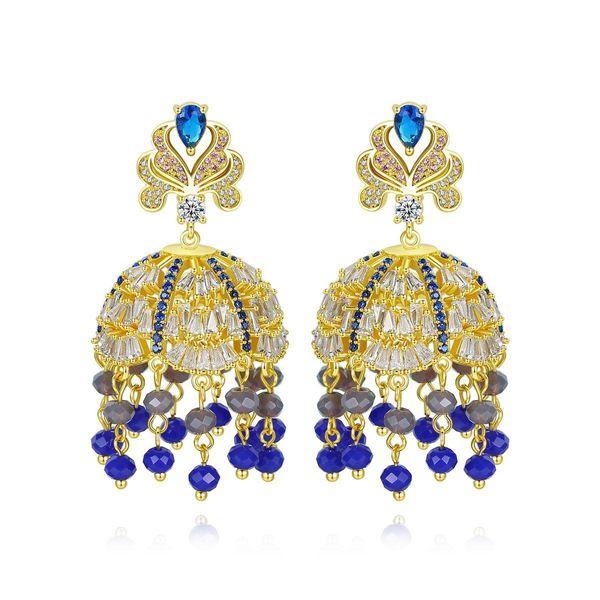 Wholesale earrings new national style zircon full diamond tassel earrings retro earrings women NHTM197147