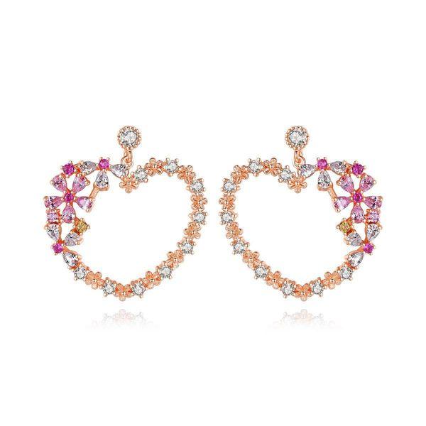 Earrings Korean Fashion Ladies Copper Inlaid Zirconium Heart Earrings NHTM197143