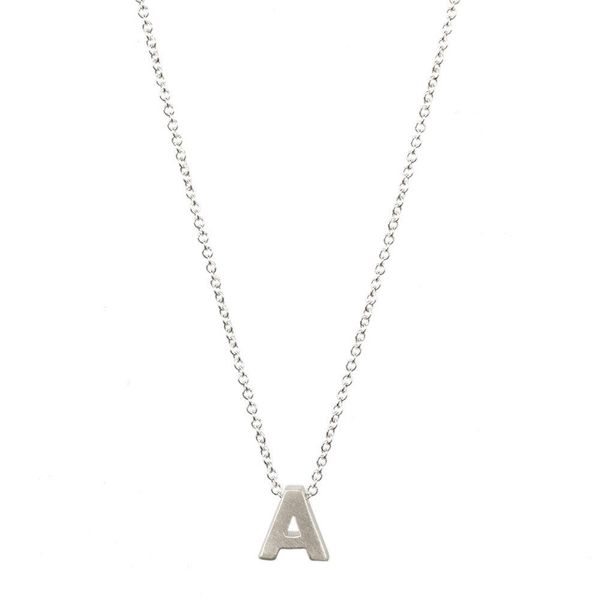 Fashionable 26 English Letter Necklace Environmental Protection Plating Silver Letter Pendant Necklace Wholesale NHCU197287