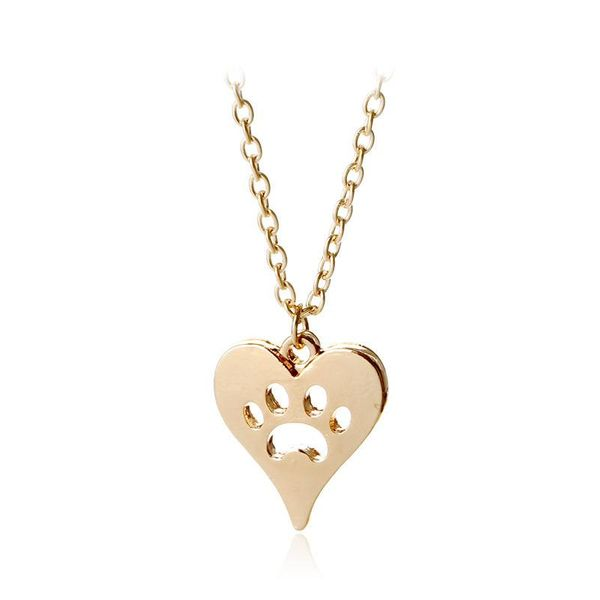 New cute animal cat paw foot necklace openwork peach heart necklace heart shaped dog paw print necklace wholesale NHCU197292