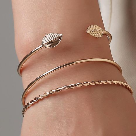 Fashion Twist Leaf Bangle Bracelet Geometry Open Bangle Wholesale NHCU197293's discount tags