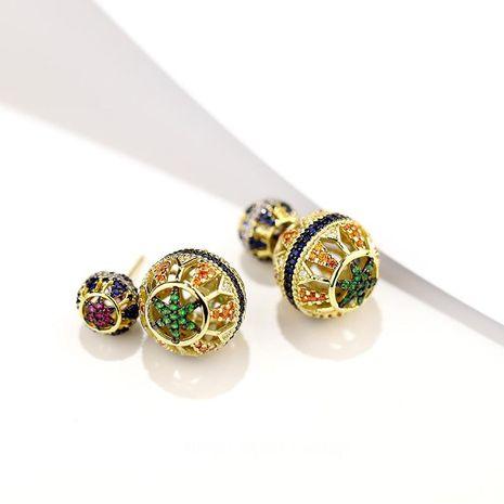 Pendientes de bola geométricos huecos coloridos cúbicos de plata de moda S925 Super Flash Stud Pendientes NHDO197307's discount tags