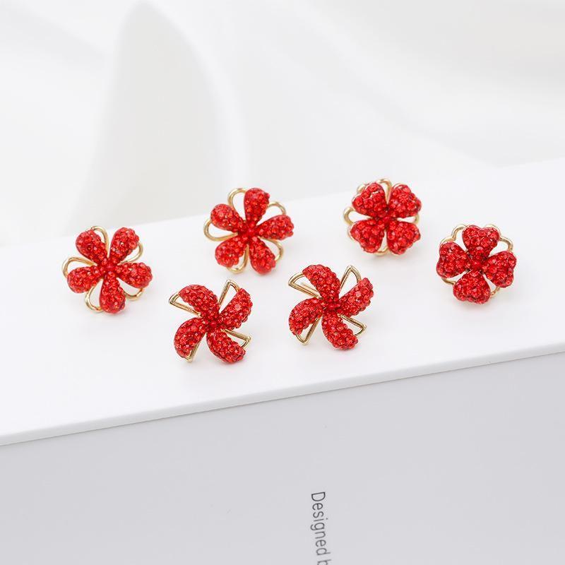 Fashion S925 Silver Needle Clover Rotating Windmill Earrings Female New Fashion Simple Earrings Korean Earrings NHDO197313