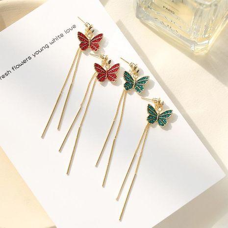 Moda S925 Tremella Needle Butterfly Earring Korean Long Tassel Earrings NHDO197314's discount tags