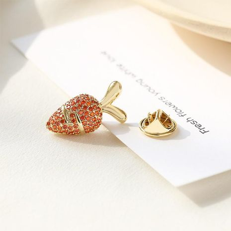 Korean high-grade carrot brooch Japanese cute bunny corsage anti-lighting pin buckle collar pin fixed clothes NHDO197318's discount tags