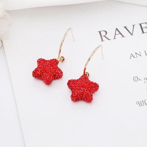 Pendientes de plata esterlina S925 de moda Dulces de moda coreana dulces pendientes de estrella roja dulce NHDO197321