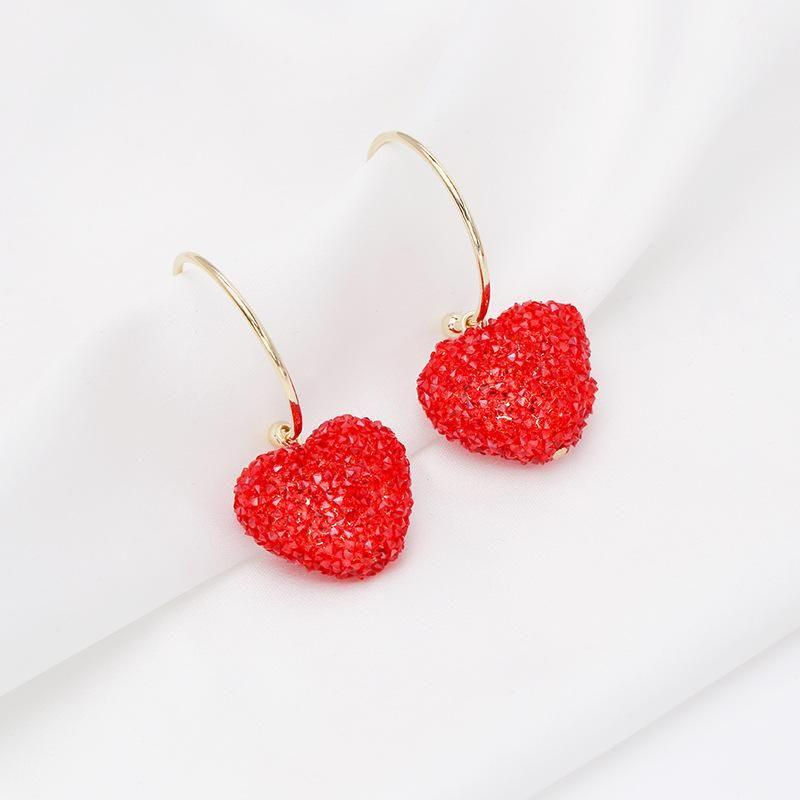 Fashion S925 Silver Earrings Women Love Heart Shaped Long Earrings Korean Heart Earrings NHDO197335