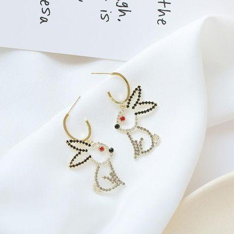 Moda tridimensional hueco lindo lindo conejo pendientes pendientes de diamantes de imitación conejo largos NHDO197338's discount tags