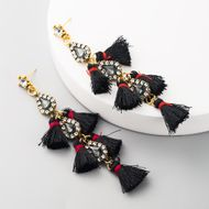 fashion alloy tassel rhinestone long earrings fan-shaped earrings female Chinese knot retro earrings wholesale NHLN197341
