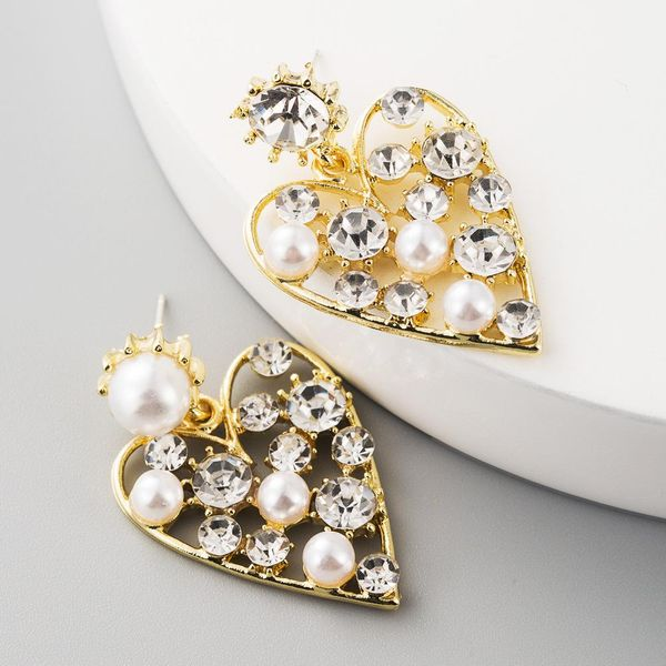 fashion earrings exaggerated love-shaped alloy with rhinestones and pearls S925 silver needle Korean earrings NHLN197343