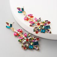 fashion multilayer alloy rhinestone glass diamond flower color earrings retro earrings NHLN197344