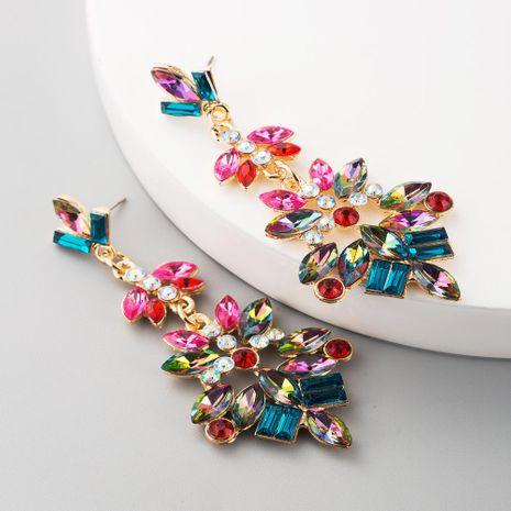 Moda de múltiples capas de aleación de diamantes de imitación de cristal de diamantes de flores pendientes de color pendientes retro NHLN197344's discount tags