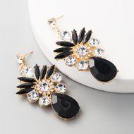 fashion earrings exaggerated glass diamond alloy rhinestone Korean earrings wholesale NHLN197345