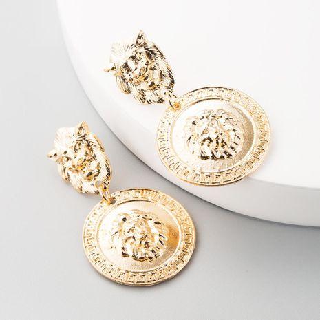 Pendientes de cabeza de león retro barrocos pendientes de metal exagerados geométricos de moda pendientes retro coreanos NHLN197346's discount tags