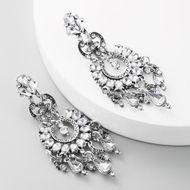 fashion alloy diamond rhinestone earrings retro earrings female long hollow alloy rhinestone earrings NHLN197347