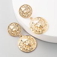 Fashion exaggerated retro earrings female alloy inlaid pearl shell boho ethnic tassels earrings NHLN197348