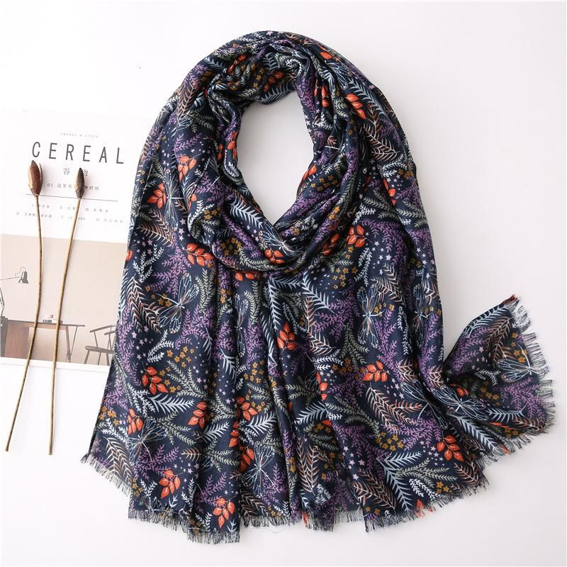 New plant flower cotton and linen shawl scarf women dual-use air conditioning sunscreen scarf scarf beach towel NHGD197358