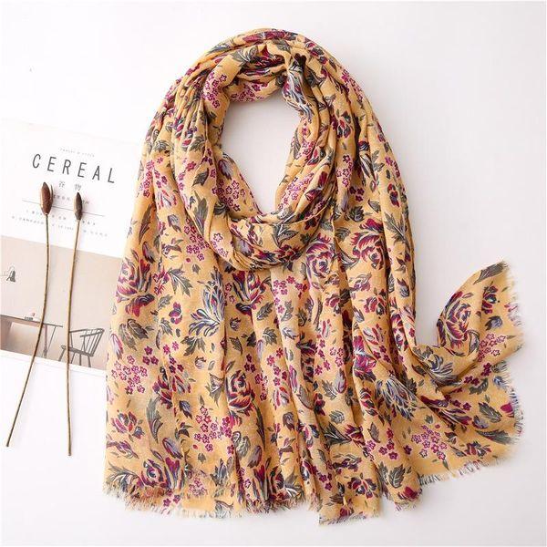 Scarf female new turmeric floret cotton and linen print scarf scarf travel shawl NHGD197361