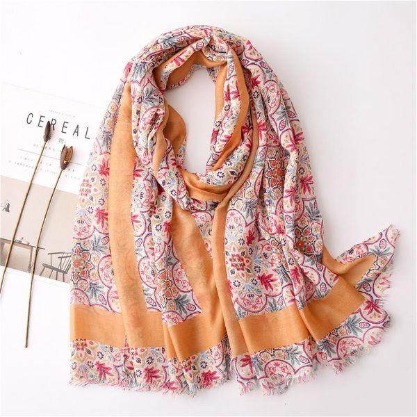 Bufanda femenina nuevo temperamento floral dulce viento algodón y lino sensación bufanda impresa bufanda chal de viaje NHGD197366
