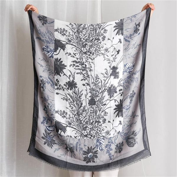 Retro cotton and linen scarf female Korean wild haze blue flower long shawl NHGD197368