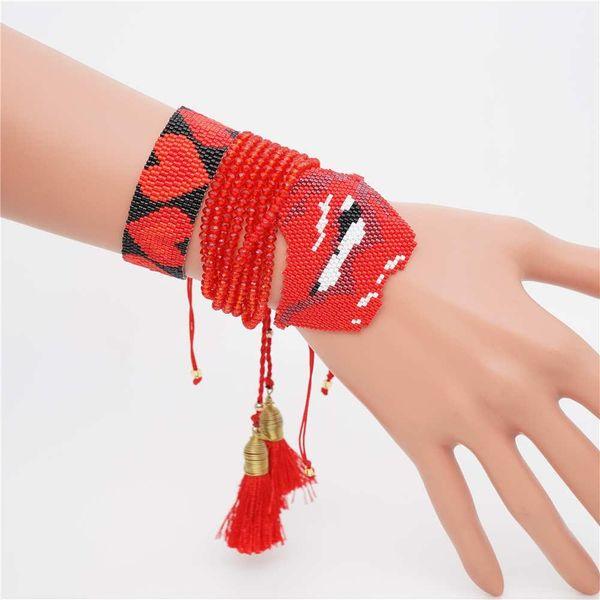 fashion crystal tassel bracelet miyuki bead weaving love lips bracelet NHGW197376