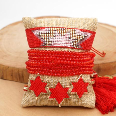 Estrella de seis puntas tejida a mano Miyuki de moda con brazalete de flecos de cristal NHGW197388's discount tags