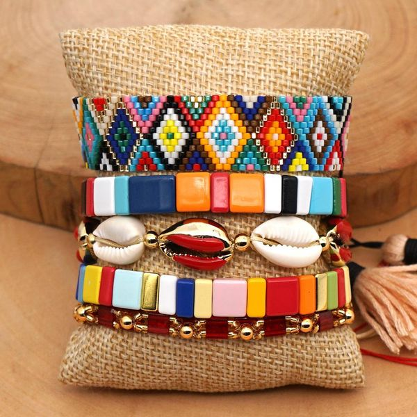 Fashion Miyuki Bead Rainbow Bracelet Natural Shell TILA Zinc Alloy Painted Women's Bracelet NHGW197390