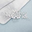 Bride DIY handmade hair accessories alloy flower diamond insert comb comb wedding head jewelry NHHS197399