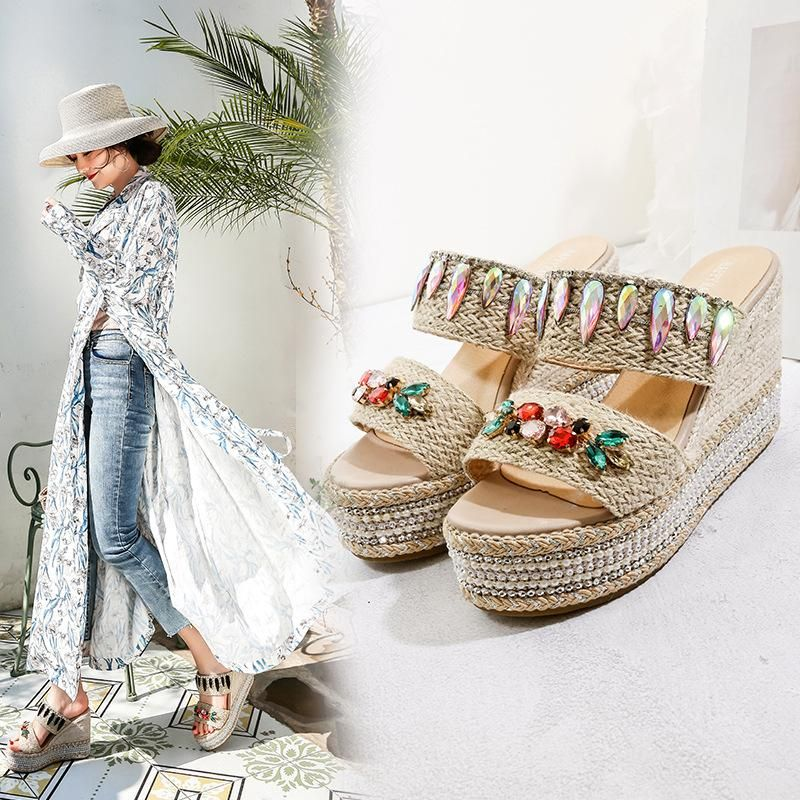 New Hemia Platform Thick-heeled Wedge Heel Rope Handmade Color Diamond Sandals NHHU197420