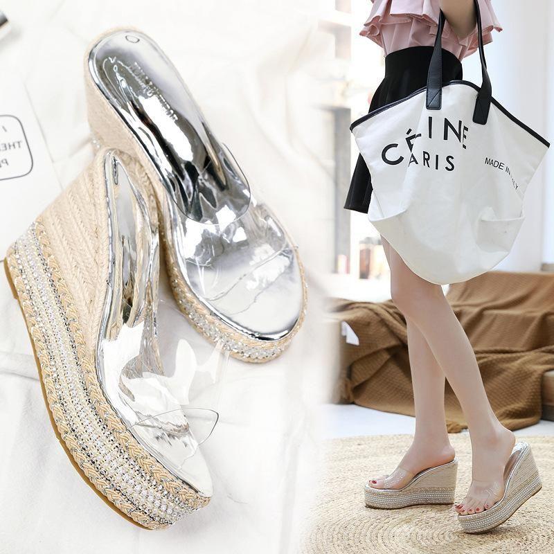 Transparent film sandals and slippers fashion new beach rhinestone slope thick bottom flip flops NHHU197421
