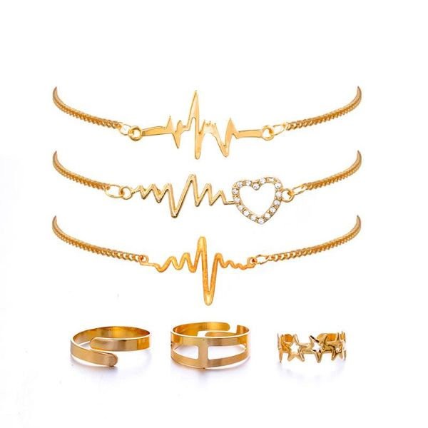 Fashion Love Shaped Electrograph Bracelet Pentagram Star Open Ring Bracelet set NHPV197429