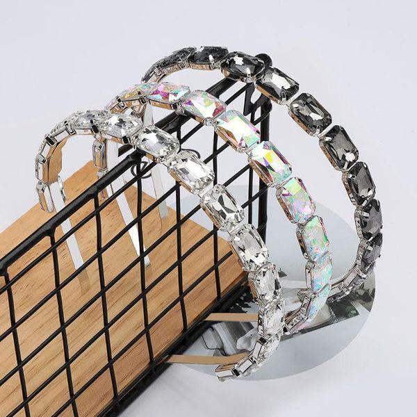 Nueva diadema de vidrio cuadrado de gama alta con diadema de diamantes y diadema ultra flash NHJE197433