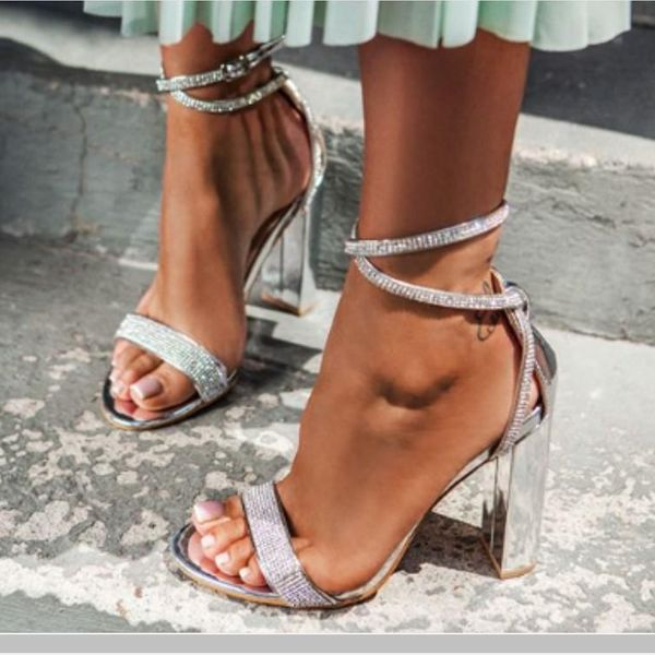 New women's shoes chunky heel rhinestone high heel open toe cross strap sandals NHSO197437