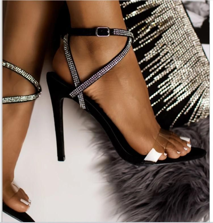 New Women's Shoes Rhinestone High Heel Roman Stiletto Cross Strap Transparent Sandals NHSO197451