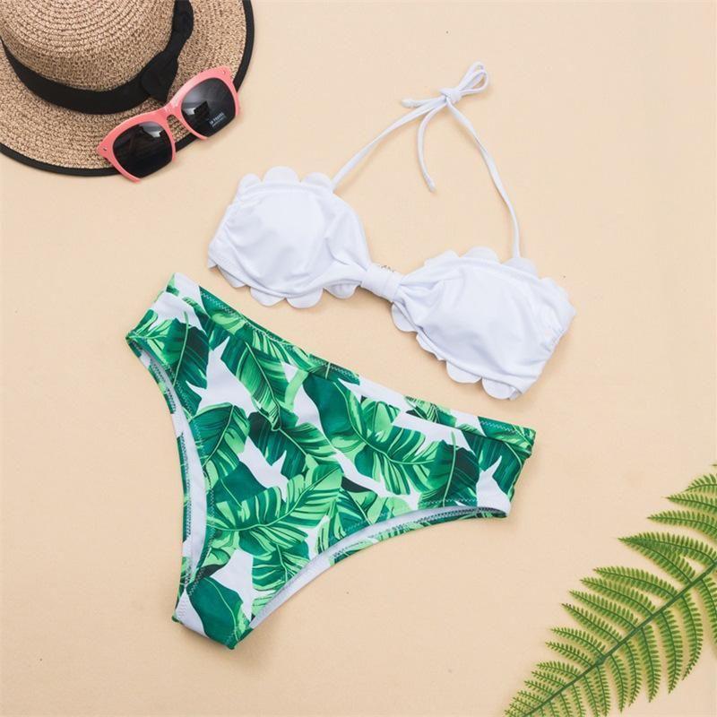 New swimsuit wholesale tube top leaf print ladies split bikini swimsuit NHHL197459