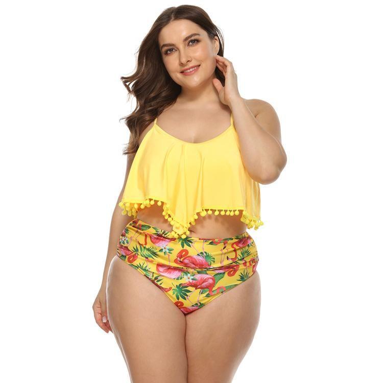 New bikini ruffled swimwear women's high waist printed large size women's swimwear NHHL197461