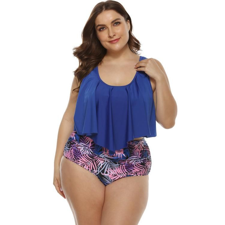 New high waist solid color sexy ruffled multicolor large size split bikini swimsuit wholesale NHHL197497