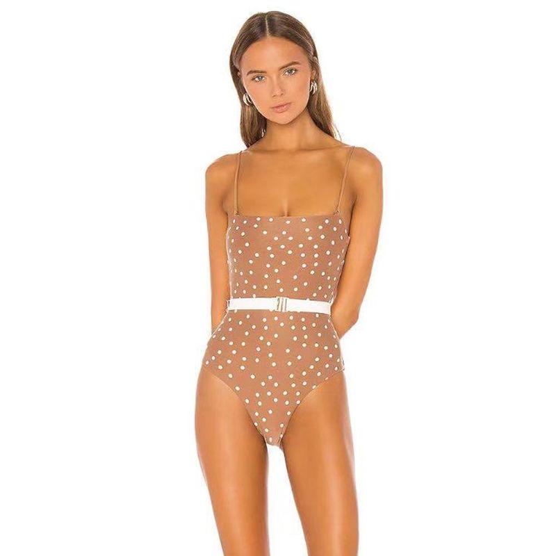 New Fashion Polka Dot Sling One Piece Swimsuit Vacation Belt Swimsuit Wholesale NHHL197514