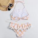 New ladies polka dot printed fur ball fringed swimsuit wholesale NHHL197532
