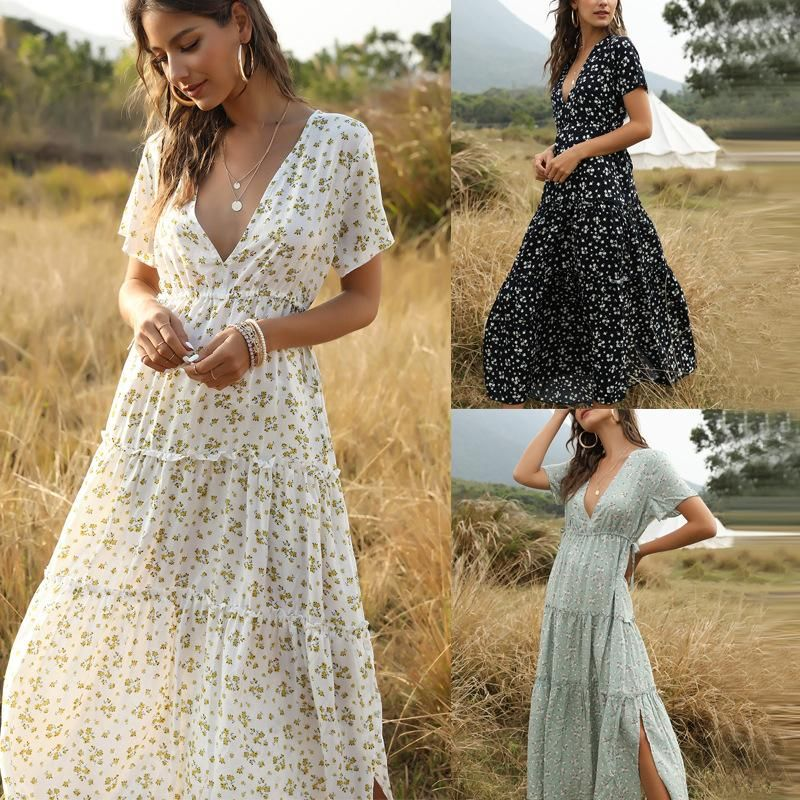 Fashion Women's Bohemian Ruffled Floral V-Neck Jumpsuit Dress Wholesale NHDF197574