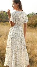 Fashion Women39s Bohemian Ruffled Floral VNeck Jumpsuit Dress Wholesale NHDF197574