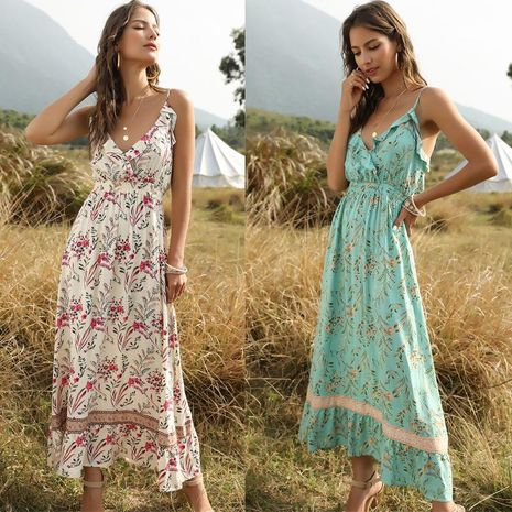 New boho printed ruffled V-neck strap dress wholesale NHDF197575's discount tags