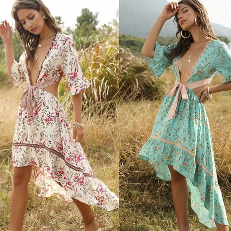 Fashion Bohemian Deep V-neck Lace Up Back Vintage Print Irregular Swing Dress NHDF197577's discount tags