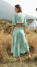 Fashion Bohemian Deep Vneck Lace Up Back Vintage Print Irregular Swing Dress NHDF197577
