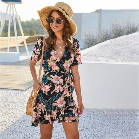 New Flower Print Wrap Lace Up V-Neck Short Sleeve Dress Women Wholesale NHDF197580's discount tags