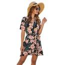 Nuevo vestido de manga corta con cuello en V y encaje con estampado de flores para mujer al por mayor NHDF197580