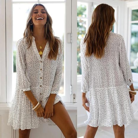 New Wave Dot Print Nine-point Sleeve Single Breasted Loose Short Dress Wholesale NHDF197581's discount tags