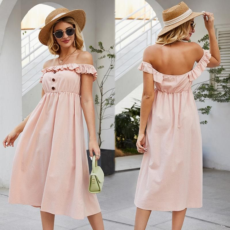 New one-shoulder stitching ruffled dress fashion single-breasted solid color dress wholesale NHDF197584