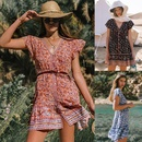 New beach skirt printed singlebreasted Vneck short sleeve bohemian women39s dress wholesale NHDF197585
